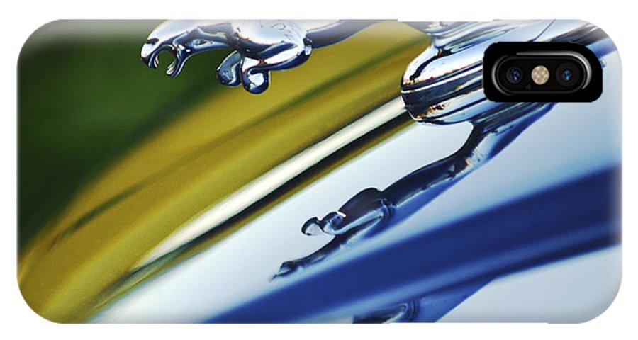Car IPhone X Case featuring the photograph Jaguar Car Hood Ornament by Jill Reger