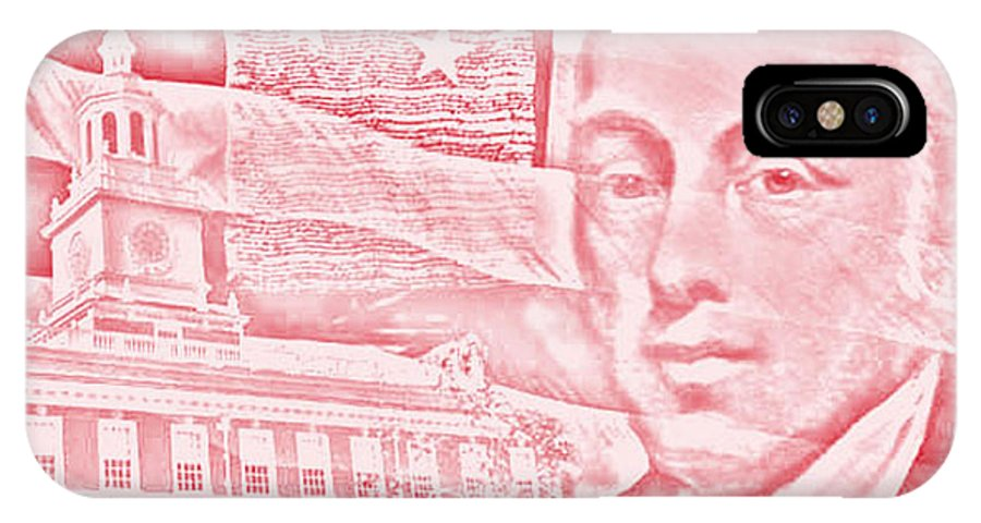 Historical IPhone X Case featuring the digital art James Madison- 4th Us President by James Yoke