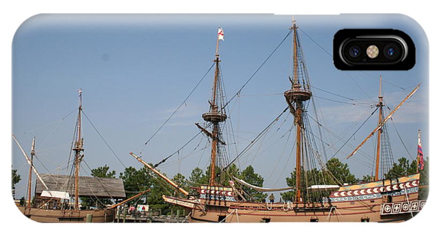 Ship IPhone X Case featuring the photograph Jamestown Historic Sailingships by Christiane Schulze Art And Photography