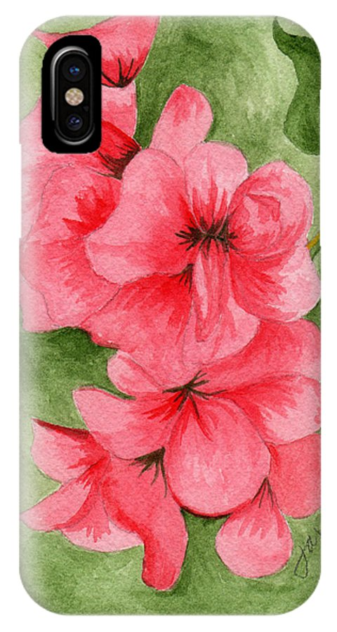 Flower IPhone X Case featuring the painting Jane's Flowers by Judith Rice