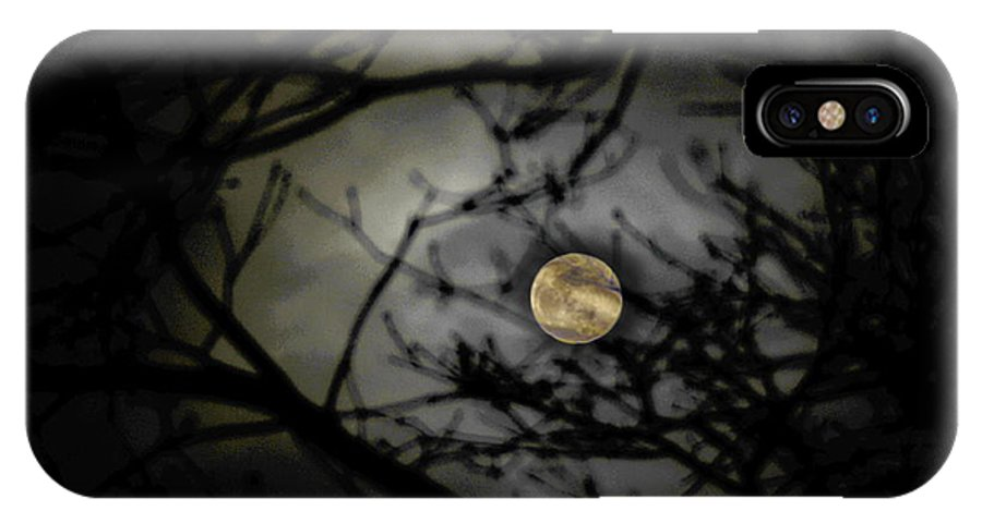 Moon IPhone X Case featuring the photograph January Moon In Treetops by Tony Ambrosio
