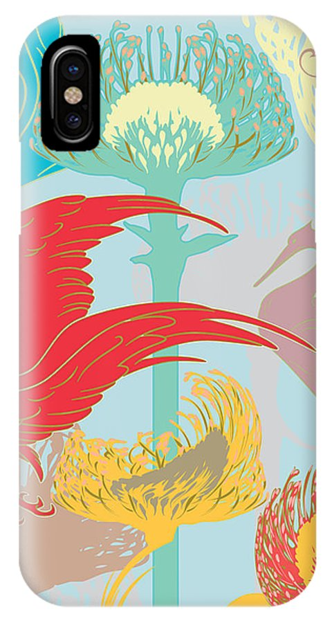 Flower IPhone X Case featuring the digital art Japanese Crane And Protea Flower by Barry Orkin