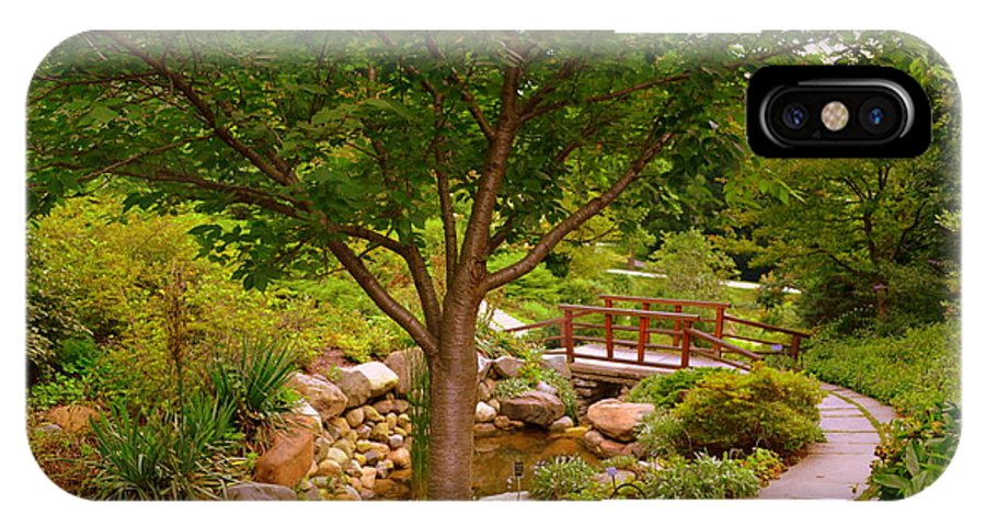 Gardens IPhone X Case featuring the photograph Japanese Garden Bridge by Amy Lucid