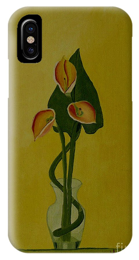 Japan IPhone X Case featuring the painting Japanese Ikebana Arrangement by Anthony Dunphy