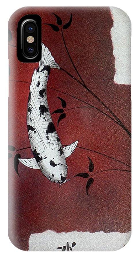 Koi. IPhone X Case featuring the painting Japanese Koi Bekko Feung Shui by Gordon Lavender