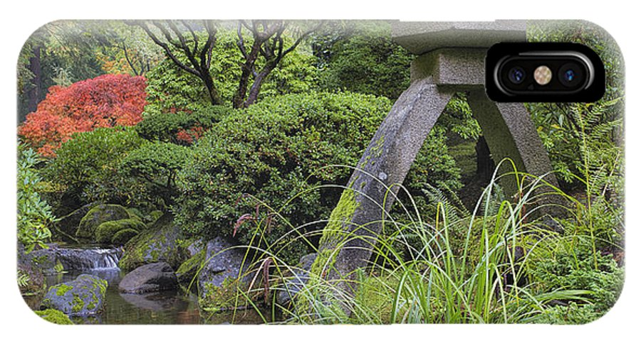 Japanese IPhone X Case featuring the photograph Japanese Stone Lantern By Water Stream by David Gn
