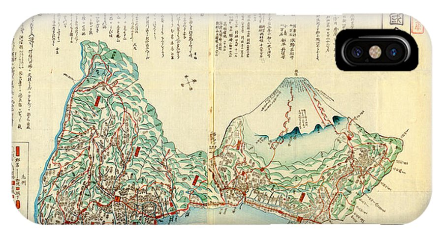 Japanese Wood Block Map Showing Mt Fuji 1830s Art IPhone X Case featuring the painting Japanese Wood Block Map Showing Mt Fuji 1830s by MotionAge Designs