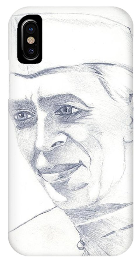Jawaharl Lal Nehru Photos IPhone X Case featuring the painting Jawaharlal Nehru by Tanmay Singh