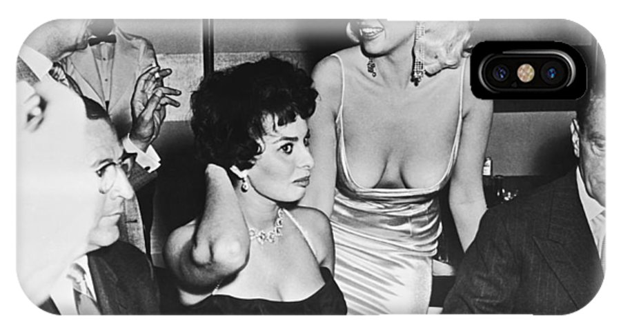 1950's IPhone X Case featuring the photograph Jayne Mansfield, Sophia Loren by Underwood Archives