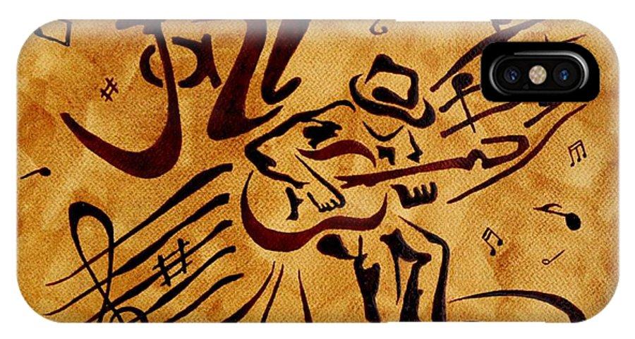 Guitar Singer Coffee Painting Abstract IPhone X Case featuring the painting Jazz Abstract Coffee Painting by Georgeta Blanaru