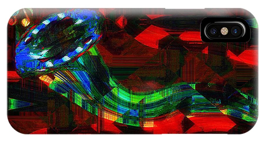 Horn IPhone X Case featuring the painting Jazz At Midnight by RC DeWinter
