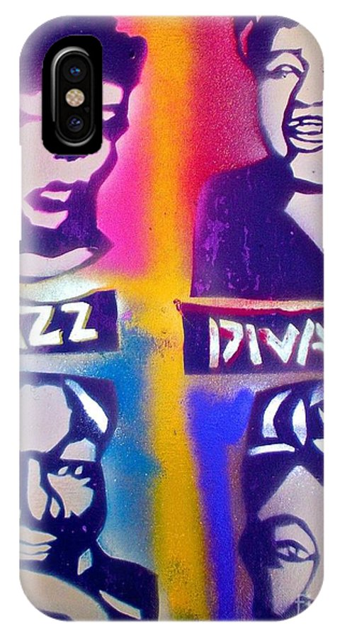 Jazz IPhone X Case featuring the painting Jazz Divas by Tony B Conscious