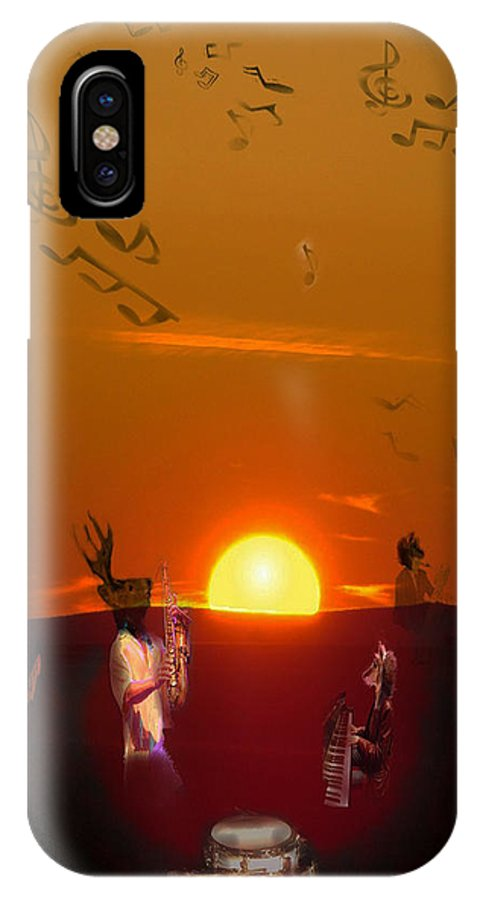Jazz IPhone X Case featuring the digital art Jazz Fest by Cathy Anderson