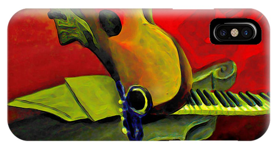 Abstract IPhone X Case featuring the painting Jazz Infusion by Fli Art