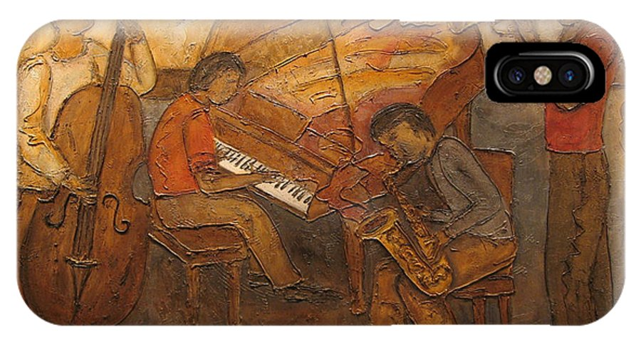 Impressionist IPhone Case featuring the painting Jazz Quartet by Anita Burgermeister