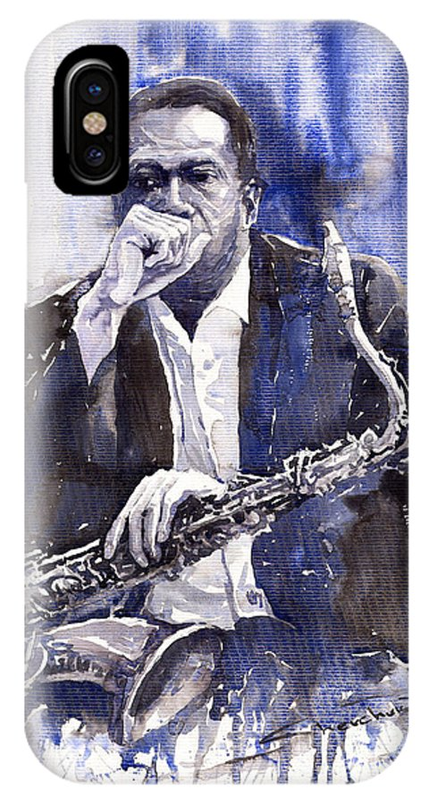 Jazz IPhone X Case featuring the painting Jazz Saxophonist John Coltrane Blue by Yuriy Shevchuk