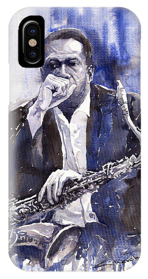 Jazz IPhone X Case featuring the painting Jazz Saxophonist John Coltrane Blue by Yuriy Shevchuk