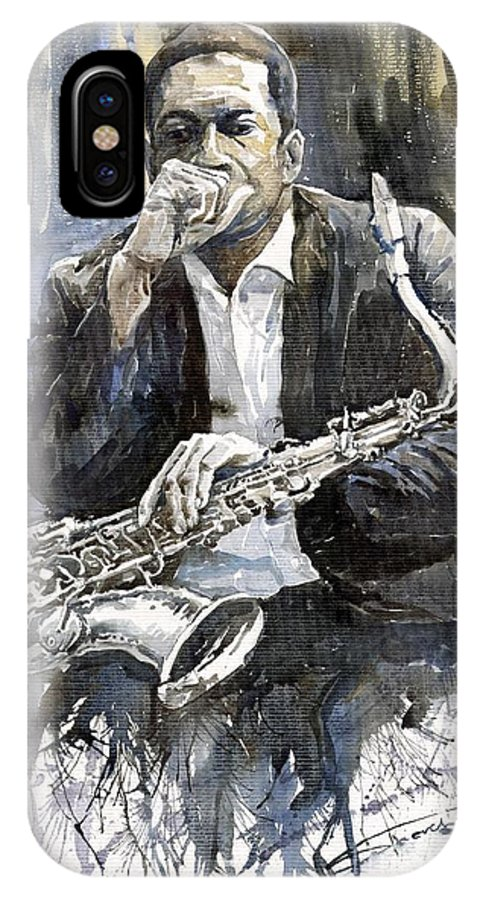 Jazz IPhone X Case featuring the painting Jazz Saxophonist John Coltrane yellow by Yuriy Shevchuk