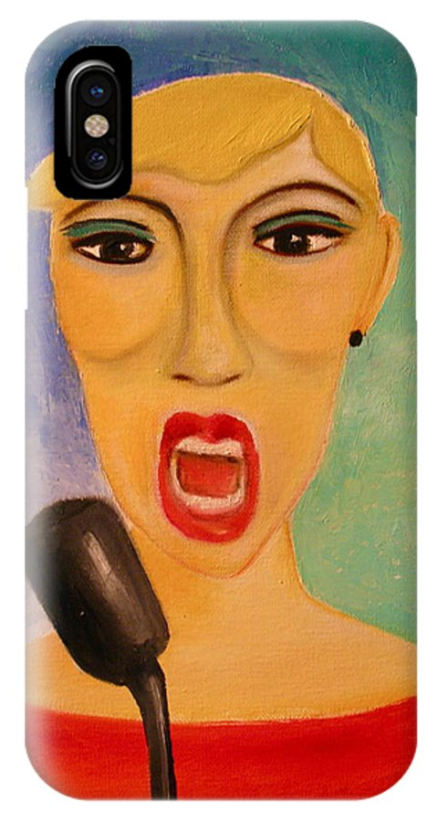 Singer IPhone X Case featuring the painting Jazz Singer by Frank B Shaner