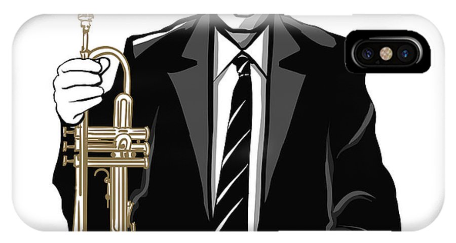 Color IPhone X Case featuring the digital art Jazz Trumpet Player - Vector by Isaxar