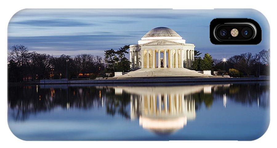 Thomas Jefferson Memorial IPhone X Case featuring the photograph Washington Dc Jefferson Memorial In Blue Hour by Carol VanDyke