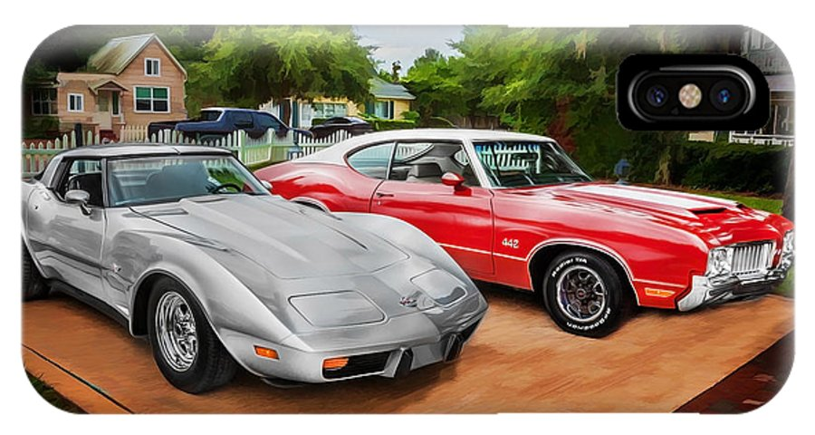 Corvette IPhone X Case featuring the photograph Jeffs Cars Corvette And 442 Olds by Rich Franco