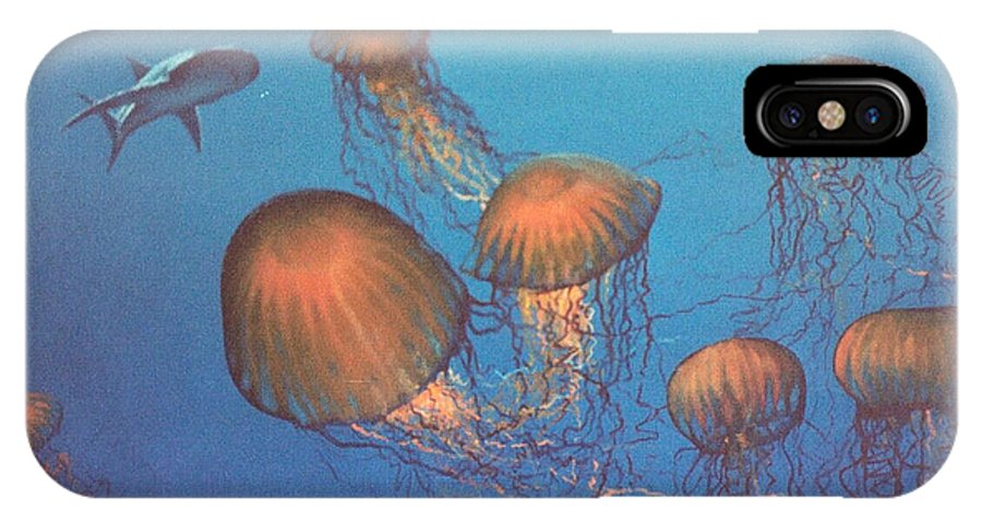 Underwater IPhone X Case featuring the painting Jellyfish And Mr. Bones by Philip Fleischer