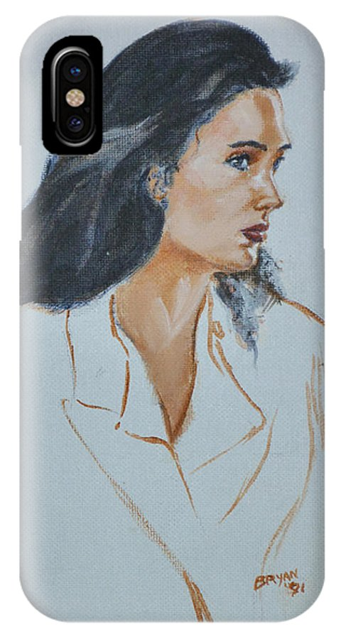 Jennifer Connelly IPhone X Case featuring the painting Jennifer Connelly by Bryan Bustard