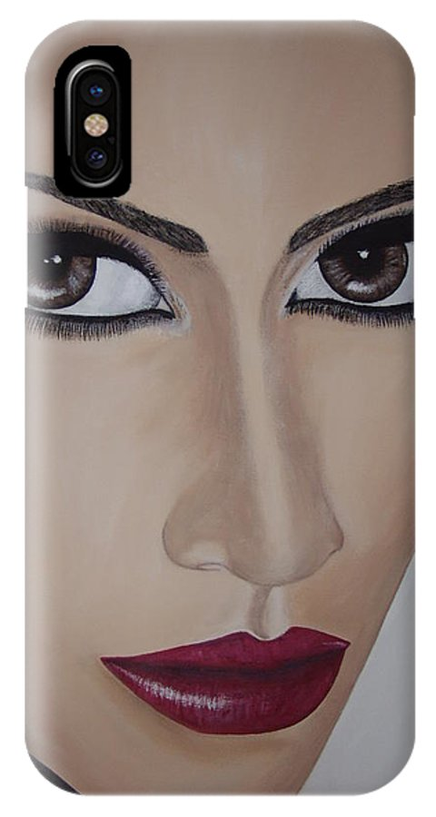 Actress IPhone X Case featuring the painting Jennifer Lopez by Dean Stephens