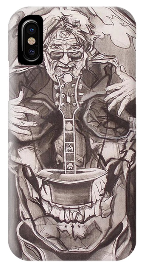 Charcoal; Skull;guitar;music;magic;mystic;wizard;cape;hat;shades;grateful Dead;deadheads IPhone X Case featuring the drawing Jerry Garcia . . Magic Is What We Do - Music Is How We Do It by Sean Connolly