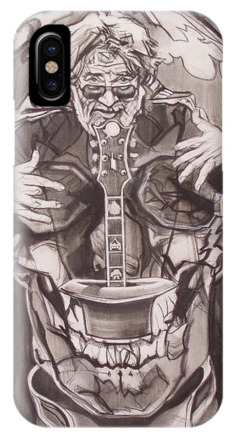Charcoal IPhone X Case featuring the drawing Jerry Garcia . . Magic Is What We Do - Music Is How We Do It by Sean Connolly