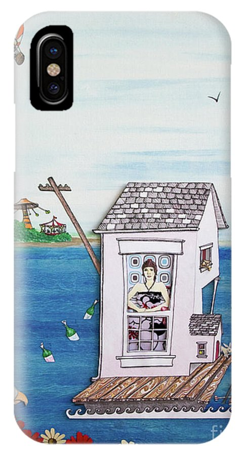 Lost IPhone X Case featuring the mixed media Jessica's Houseboat by Michele Fritz