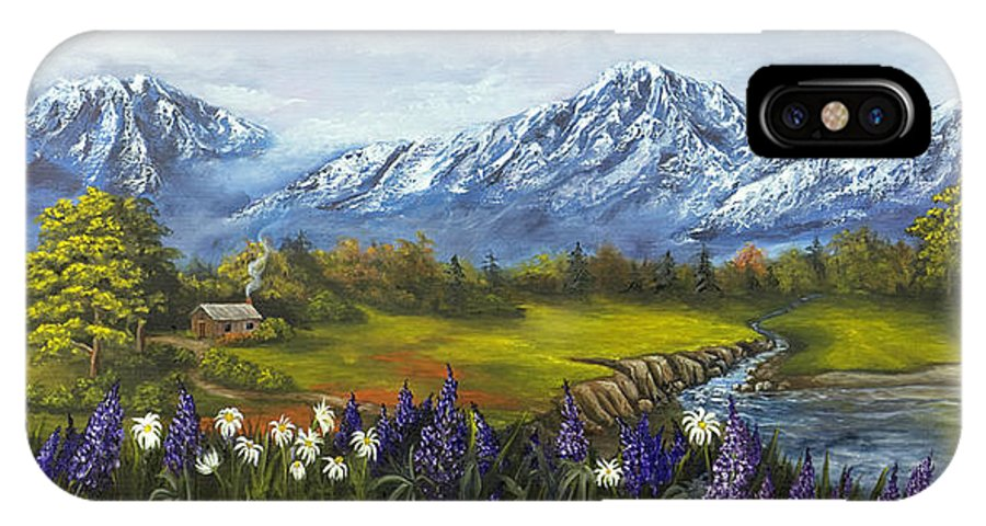 Landscape IPhone X Case featuring the painting Jessy's View by Darice Machel McGuire