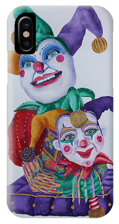 Jesters IPhone X / XS Case featuring the painting Jesters On Bourbon Street by Rhonda Leonard