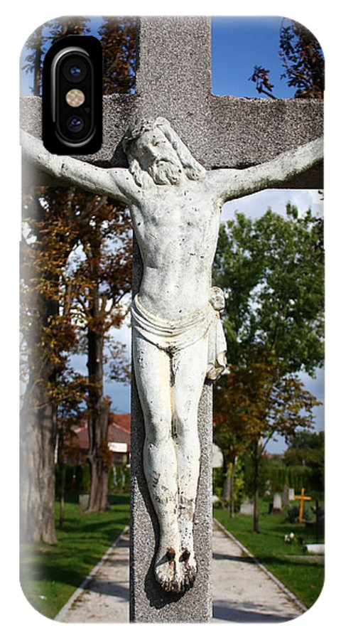 Crucifix IPhone X Case featuring the photograph Jesus Christ Crucified by Borislav Marinic