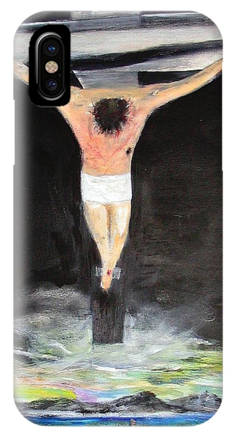 Rick Todaro Painting IPhone X Case featuring the painting Jesus The Ultimate Sacrifice by Rick Todaro