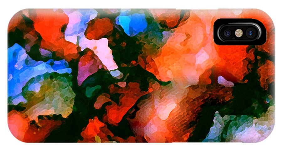 Abstract IPhone X Case featuring the painting Jeweltones by Art by Kar