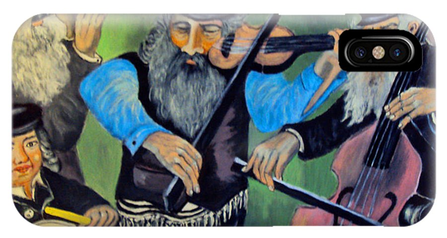 Jewish Symbol IPhone X Case featuring the painting Jewish Klezmer by Mimi Eskenazi