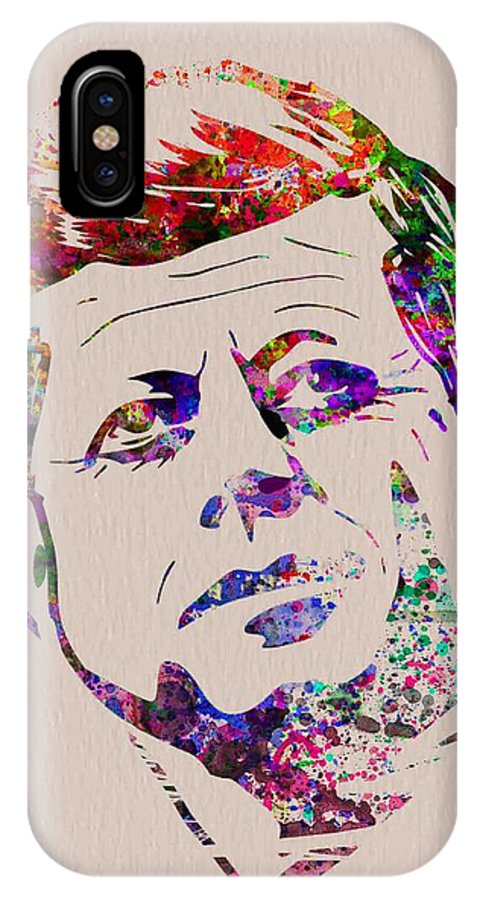 Jfk IPhone X / XS Case featuring the painting Jfk Watercolor by Naxart Studio