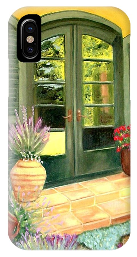 Shutters IPhone Case featuring the painting Jill's Patio by Laurie Morgan