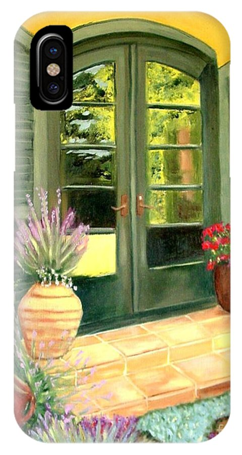 Shutters IPhone X / XS Case featuring the painting Jill's Patio by Laurie Morgan