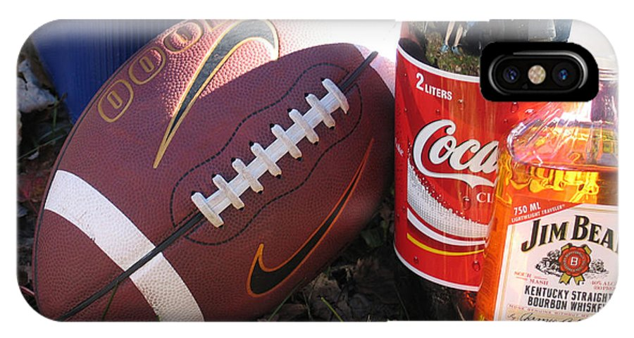 Football IPhone X Case featuring the photograph Jim Beam Coke And Football by Jason O Watson