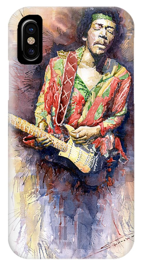 Watercolor IPhone X Case featuring the painting Jimi Hendrix 09 by Yuriy Shevchuk