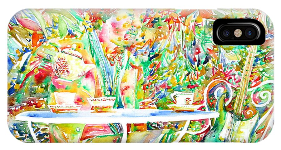 Jimi IPhone X Case featuring the painting Jimi Hendrix Having Breakfast Portrait by Fabrizio Cassetta