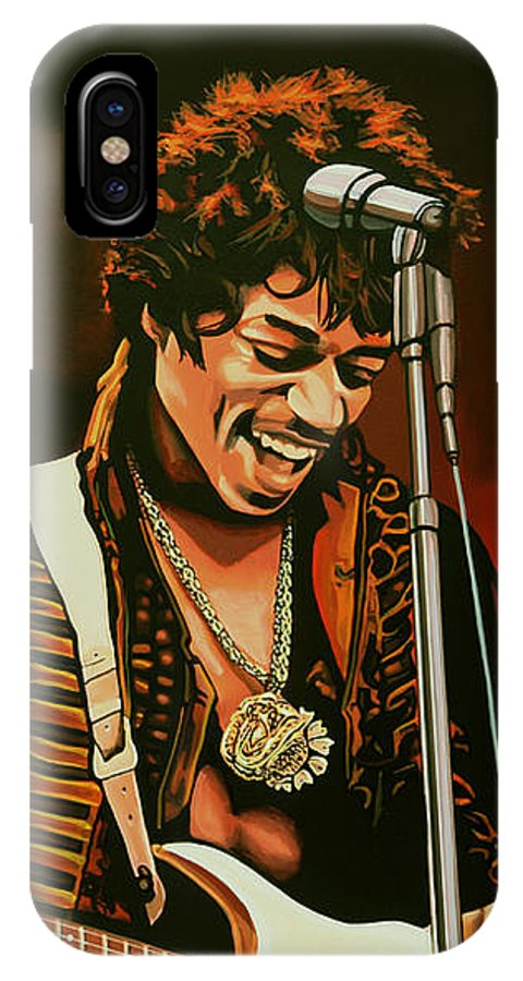 Jimi Hendrix IPhone X Case featuring the painting Jimi Hendrix Painting by Paul Meijering