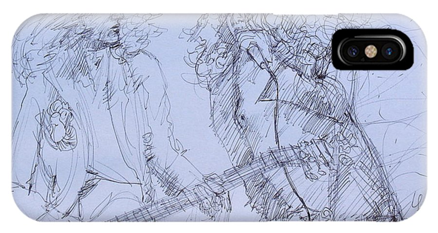 Jimmy IPhone X Case featuring the drawing Jimmy Page And Robert Plant Live Concert-pen Portrait by Fabrizio Cassetta