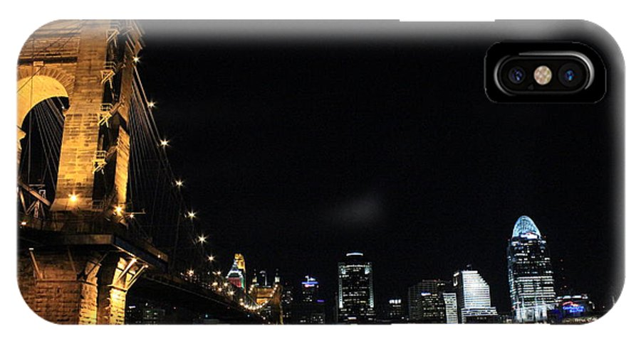 Skyline IPhone X Case featuring the photograph John A. Roebling Suspension Bridge by Mose Mathis