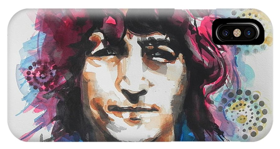 Watercolor Painting IPhone X Case featuring the painting John Lennon..up Close by Chrisann Ellis