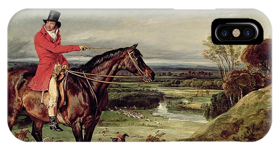 IPhone X Case featuring the painting John Levett Hunting In The Park At Wychnor by James Ward