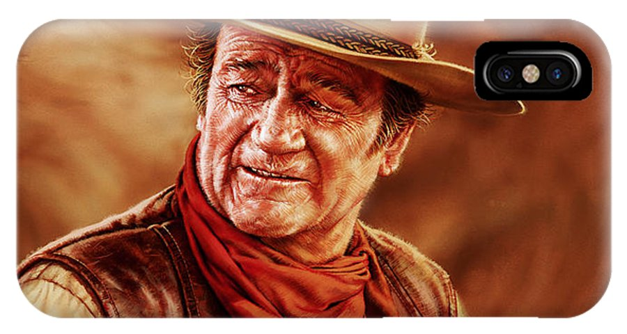 Portrait IPhone X Case featuring the painting John Wayne by Dick Bobnick